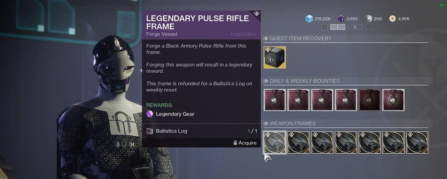 Destiny 2 Black Armory Legendary Weapon Frame