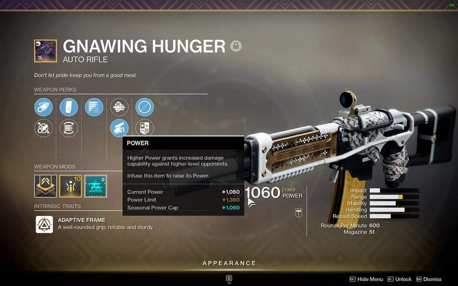 Destiny 2 re-issued weapons Gnawing Hunger