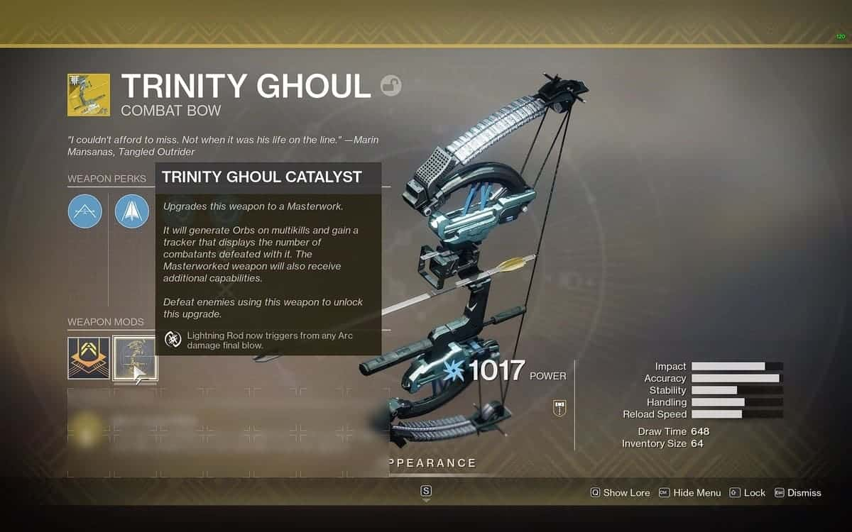Trinity Ghoul Catalyst Destiny 2 V2
