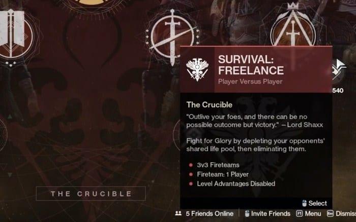 Destiny 2 Glory ranks Survival Freelance
