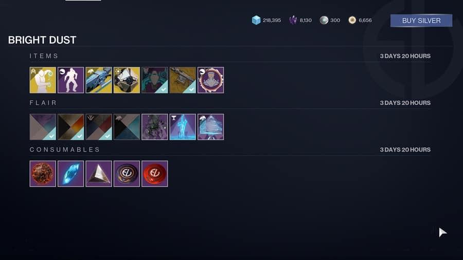Destiny 2 Bright Dust store